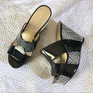 Nine West black and white platform heels